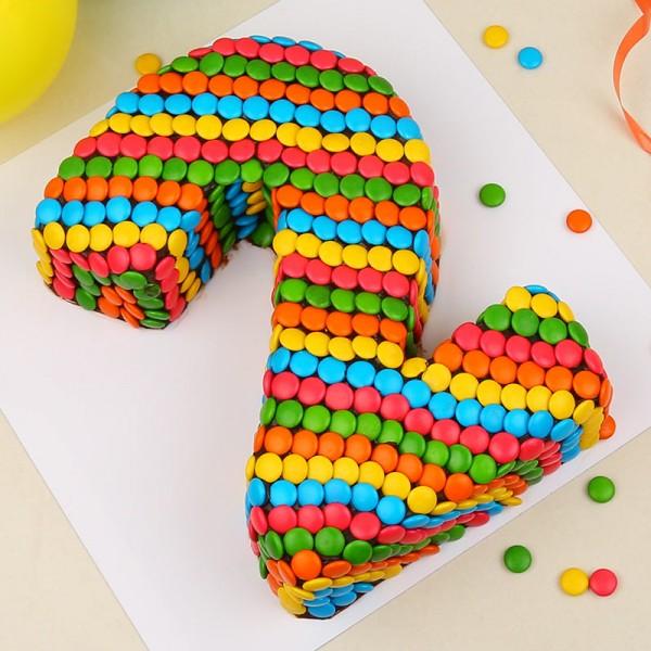 Kg Designer Gems Rainbow Chocolate Number Cake