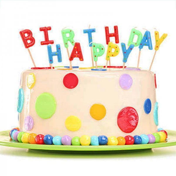 One Kg Vanilla Fondant Cake Decorated with Happy Birthday Candles
