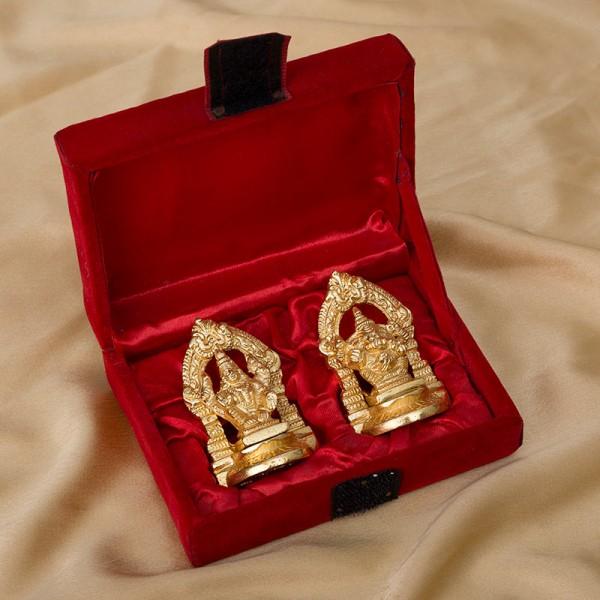 Golden Laxmi Ganesha Set in a Red Velvet Gift Box