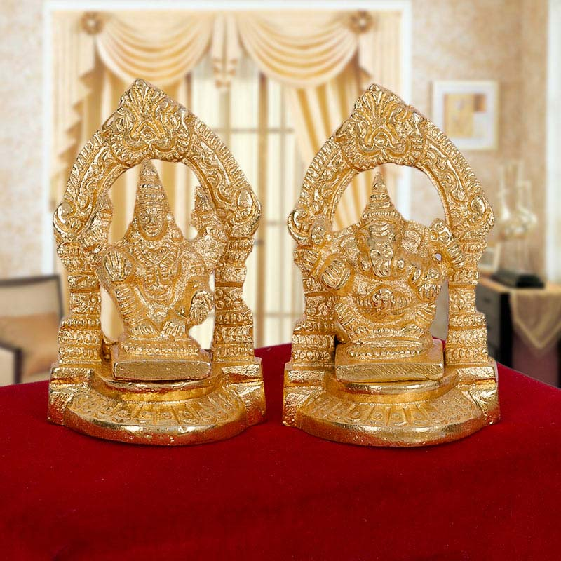 Gold Plated Laxmi Ganesha