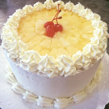 One Kg Pineapple Cream Cake Topped with Fruits
