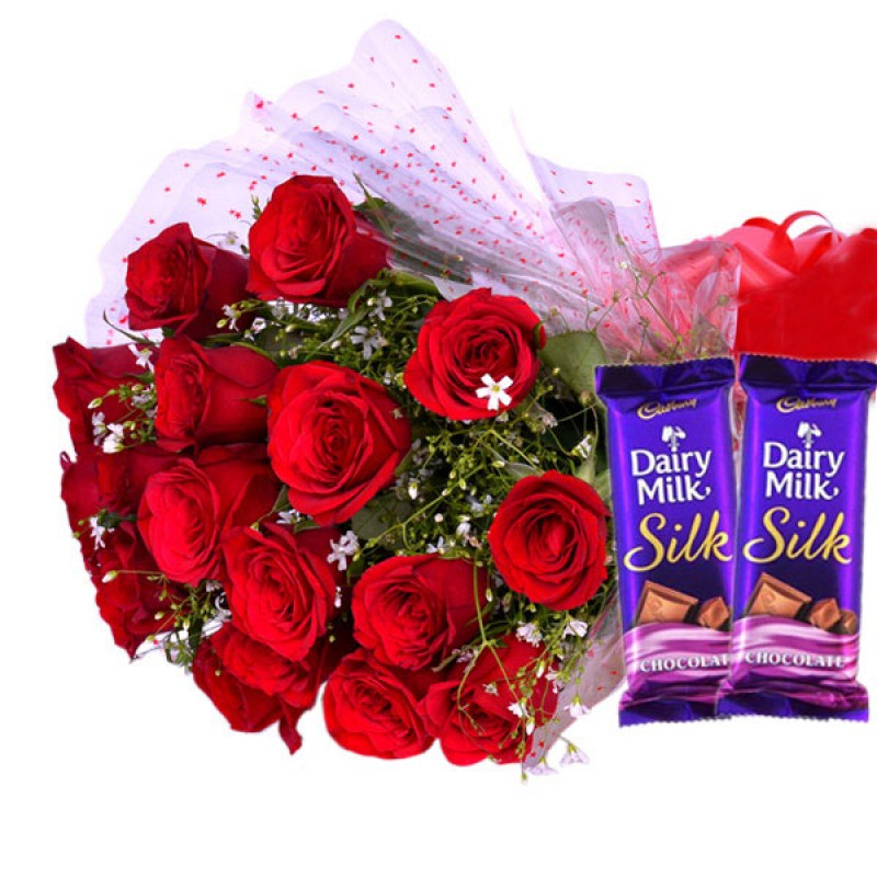 Red Blooms With Chocolaty Treat