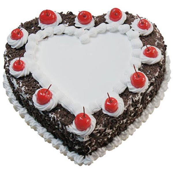 Half Kg Black Forest Heart Shape Cream Cake