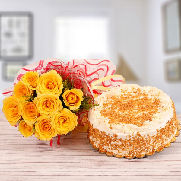 10 Yellow Roses with Half Kg Butterscotch Cake