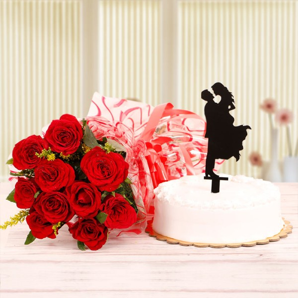 10 Red Roses and Half Kg Vanilla Cake