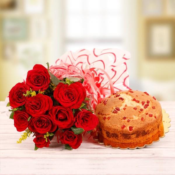 10 Red Roses and Half Kg Tutti Frutti Plum Cake