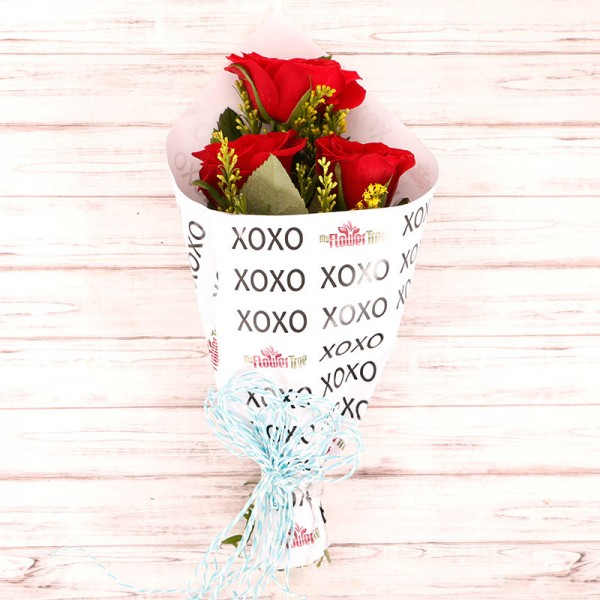 3 Red Roses in Special XOXO Paper
