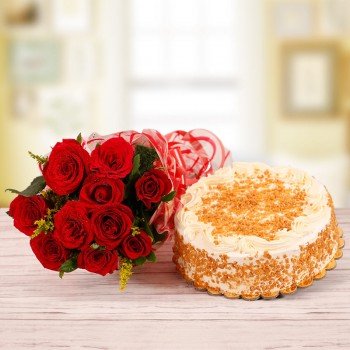 10 Red Roses with Half Kg Butterscotch Cake