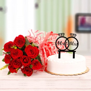 10 Red Roses with Half Kg Vanilla Cake