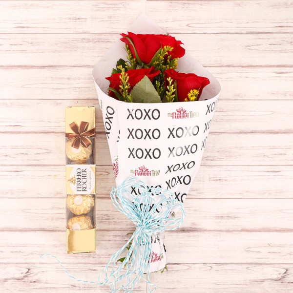3 Red Roses with 4 Pcs Ferrero Rocher in Special XOXO Paper