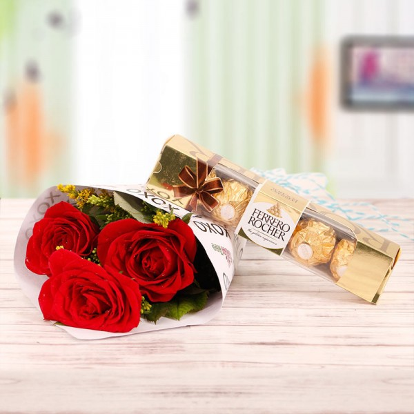 Roses with Fererro Rocher Chocolate