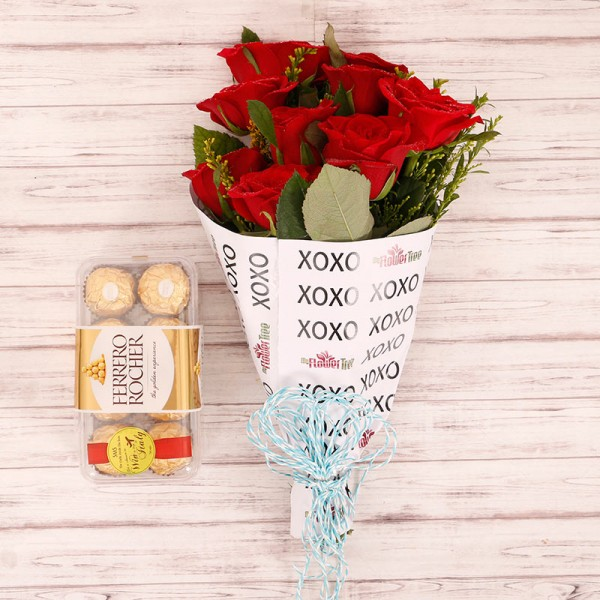 10 Red Roses with 16 Pcs Ferrero Rocher in Special XOXO Paper