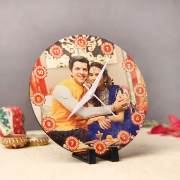 Personalised Wooden Round Clock