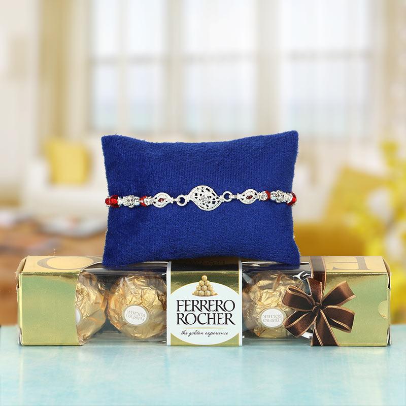 Silver Rakhi with Ferrero Rocher