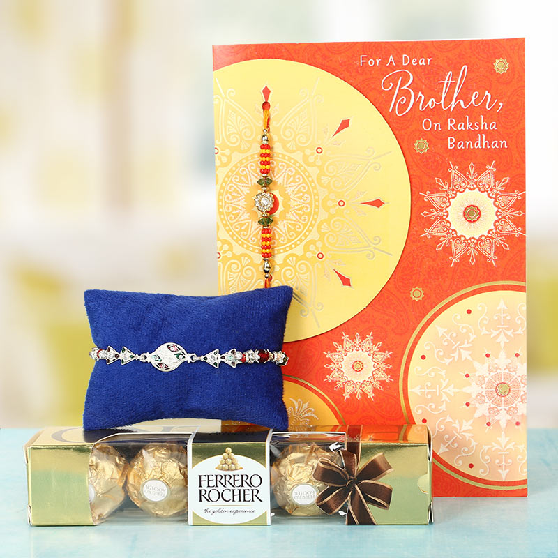 Floral Silver Rakhi Greetings