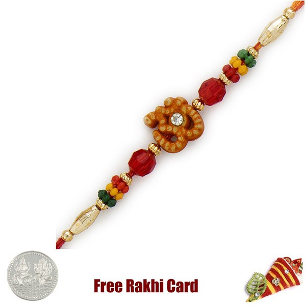 Colorful Om Rakhi With Free Silver Coin
