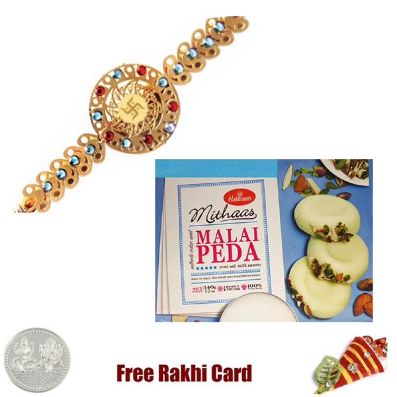 Diviniti 24 Ct. Gold Rakhi With Haldiram Malai Peda