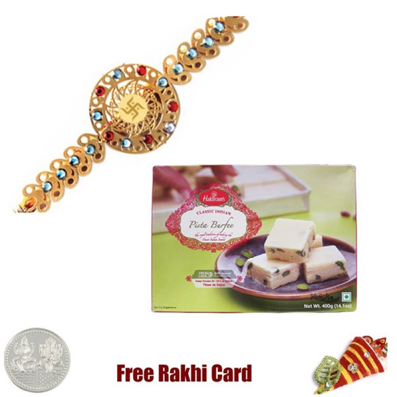 Diviniti 24 Ct. Gold Rakhi With Haldiram Pista Burfi