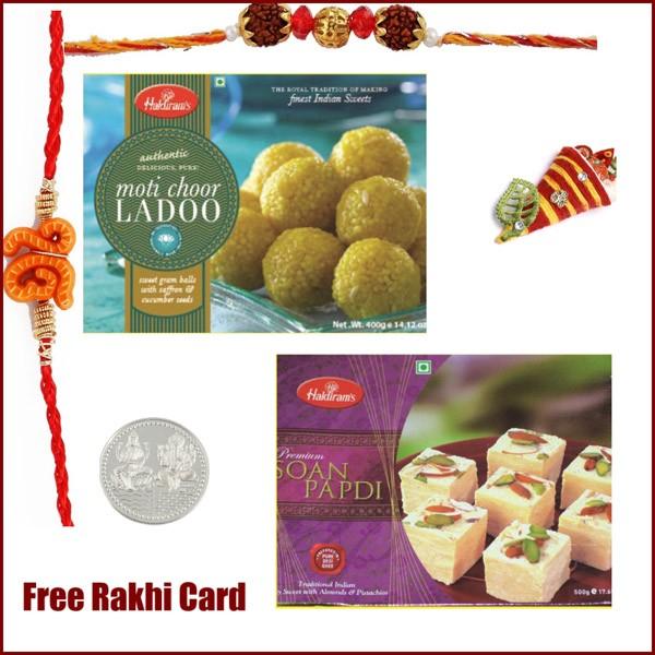 Haldiram Motichoor Ladoo Soan Papadi Rakhi Pack - Large