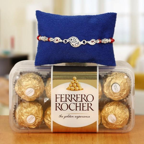 Silver Rakhi with 16pcs Ferrero Rocher
