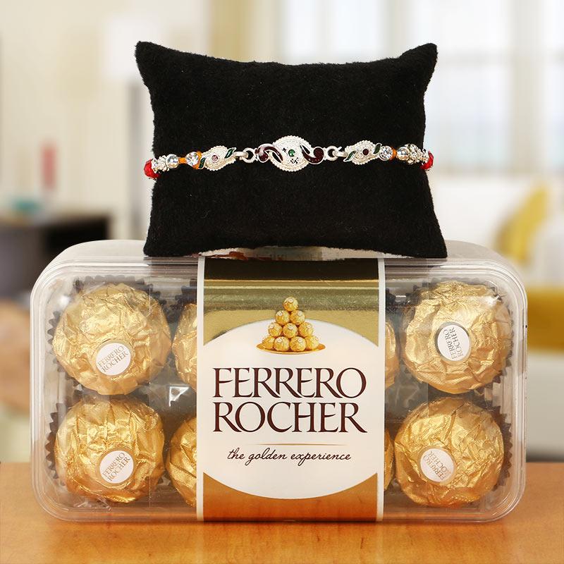 Premium Silver Rakhi and Ferrero Rocher