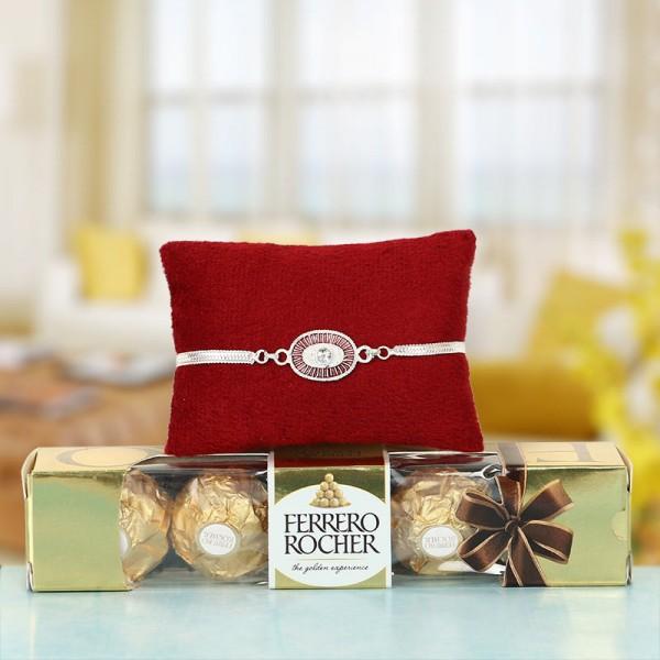 Silver Rakhi for Bhai and Chocolates
