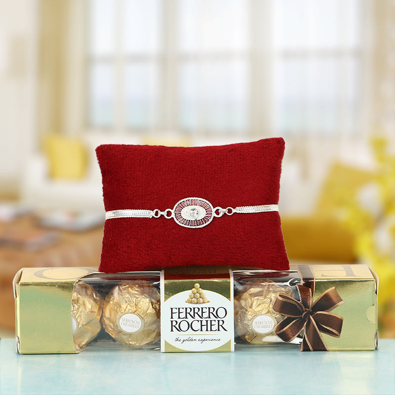 Silver Rakhi for Bhai and Chocolates