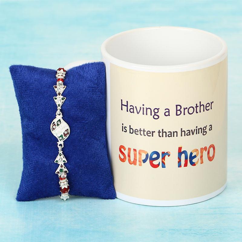 Silver Rakhi with Super Hero Mug