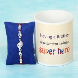 Colourful Silver Rakhi with Super Hero Mug