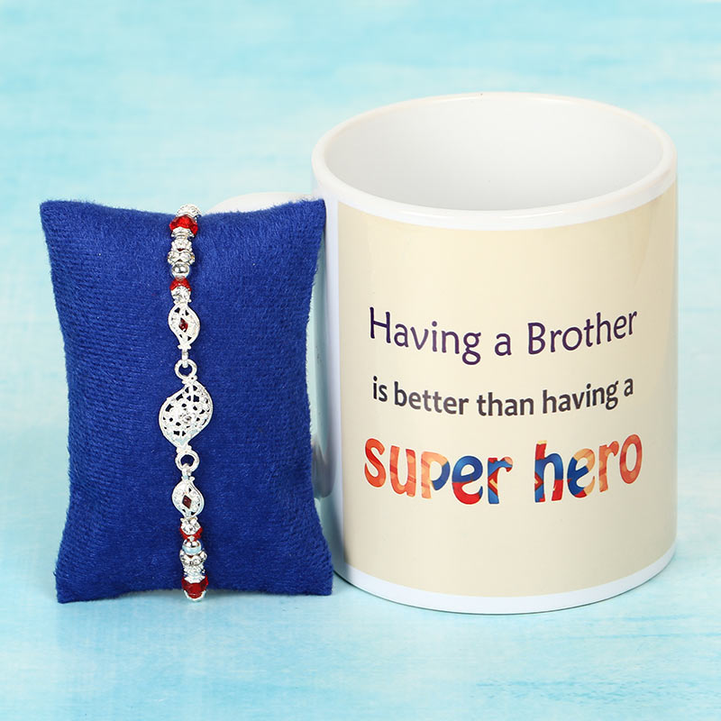 Colourful Silver Rakhi with Super Hero Mug