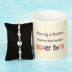 Silver Rakhi and Coffee Mug
