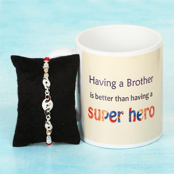 Silver Rakhi and Coffee Mug