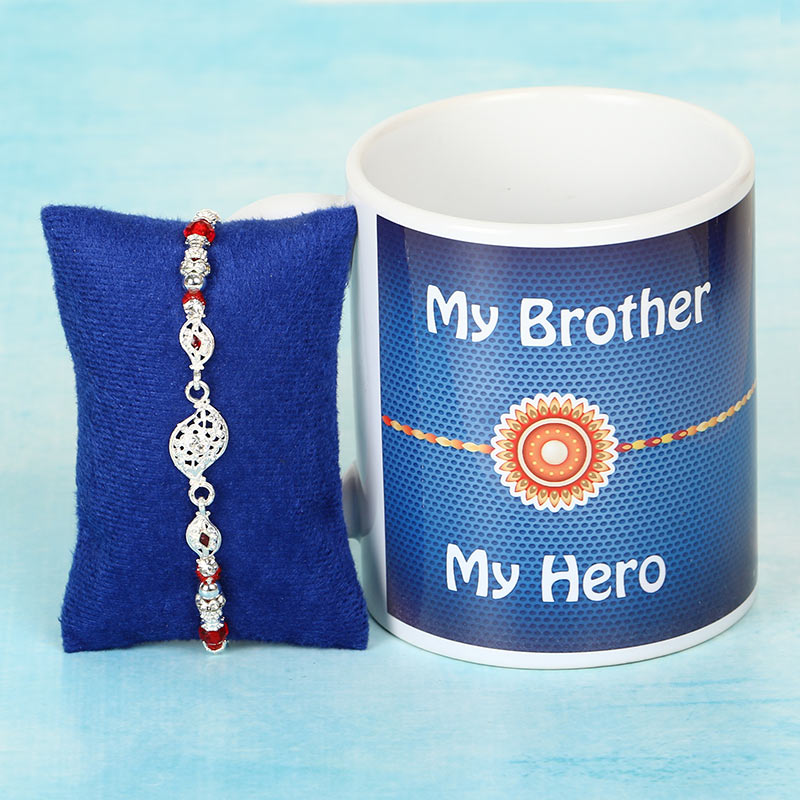 Silver Rakhi and Mug for Brother