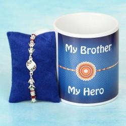 Silver Rakhi and Mug for Bhai