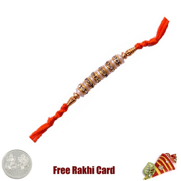 Pearl Moti Rakhi With Free Silver Coin