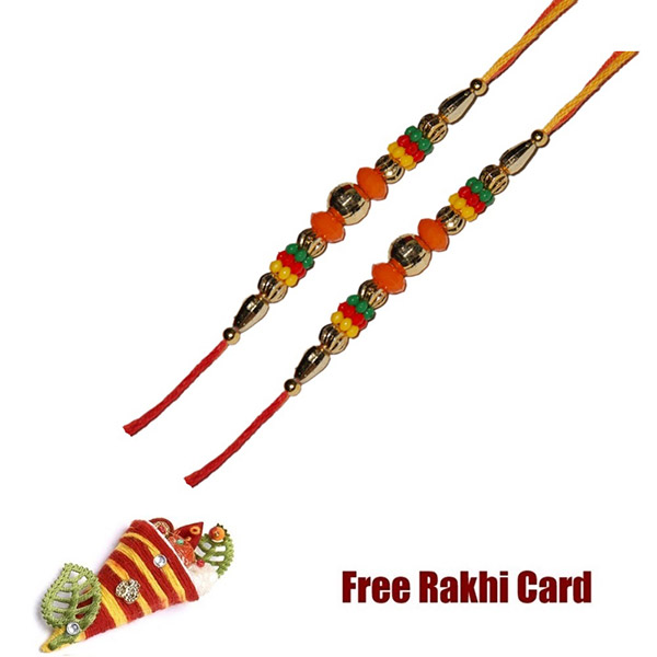 Set Of 2 Colorful Beads Rakhi With Roli Tikka And Card