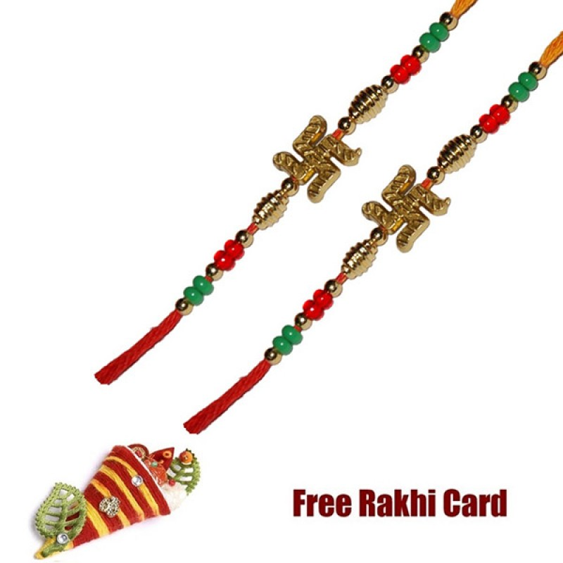 Set Of 2 Swastik Rakhi With Roli Tikka And Card