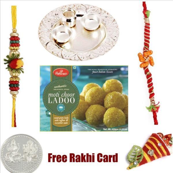 Silver Thali With Haldiram Motichoor Ladoo