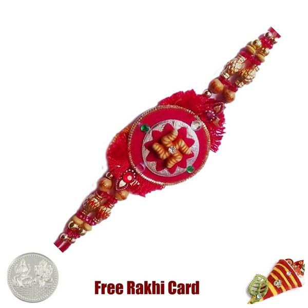Swastik Circle Rakhi With Free Silver Coin