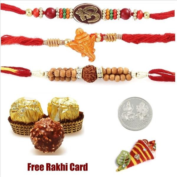 Triple Rakhi Set With Ferrero Rocher