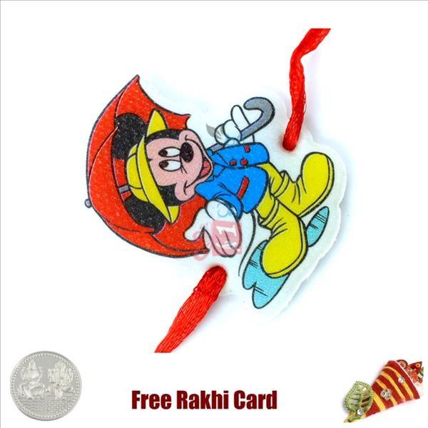 Umbrella Mickey Rakhi With A Free Silver Coin
