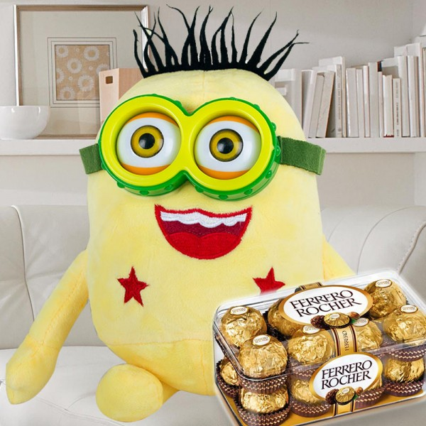 Minion Soft Toy with 16 Pcs Ferrero Rocher Chocolate