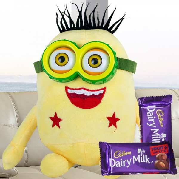 Minion Soft Toy with Dairy Milk Fruit n Nut Chocolate