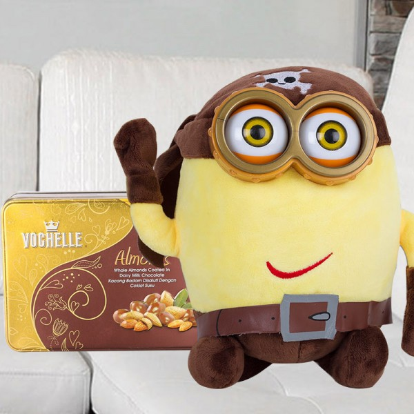 Pirate Minion Soft Toy with Sappihire Dryfruit Chocolate