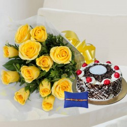 Rakhi with Yellow Roses and Cake