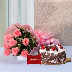 Cake and Roses with Rakhi