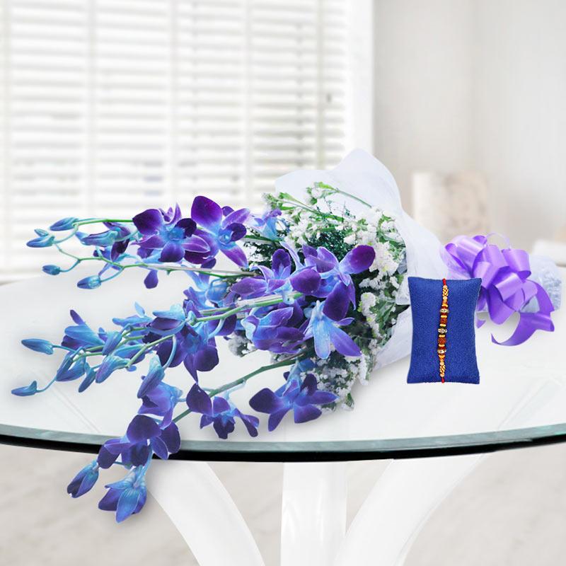 Blue Orchids Rakhi Hamper