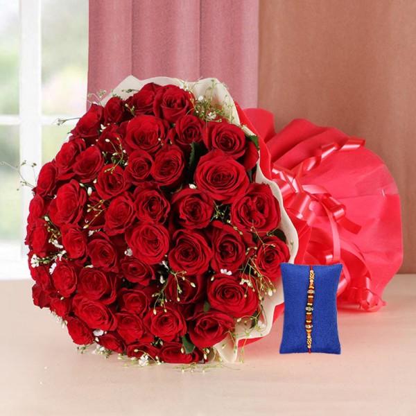 100 Roses with Rakhi