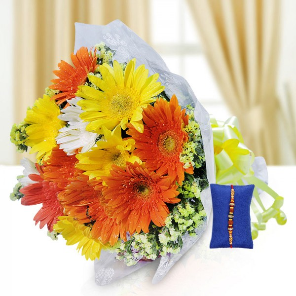 Assorted Gerberas Rakhi Hamper