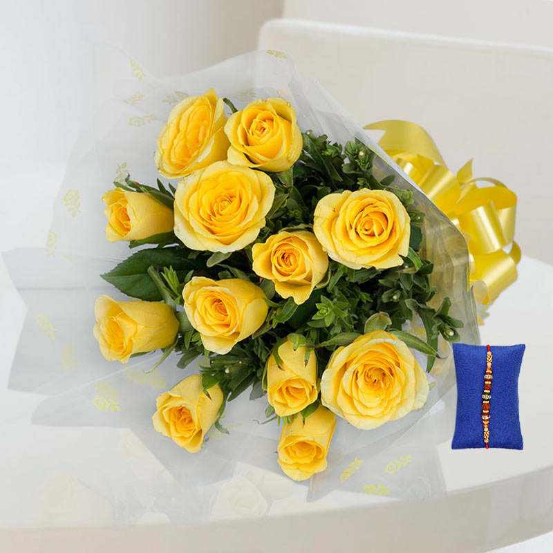 Yellow Roses Rakhi Hamper